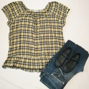Cato Plaid Peasant Top